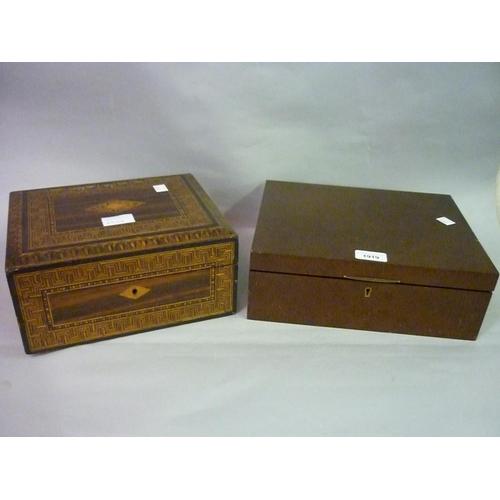 1919 - Modern burr walnut humidor cigar box and a 19th Century parquetry inlaid writing box...