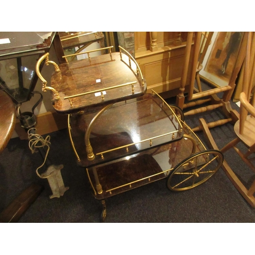 1920 - Mid Century gilt brass and lacquer work three tier drinks trolley...