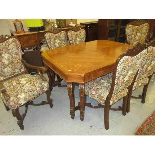 1921 - Early to mid 20th Century Italian kingwood and marquetry inlaid dining room suite comprising: an ext...