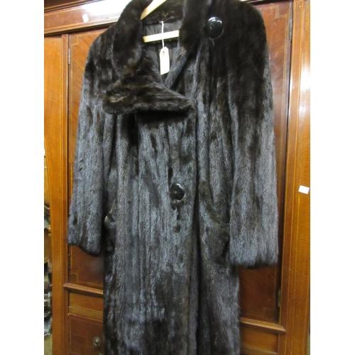 21 - Ladies dark mink fur coat, labelled M.B. Turkis...