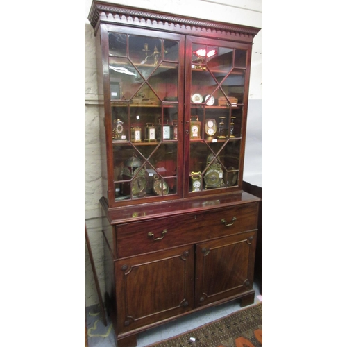 2240 - George III mahogany secretaire bookcase with a moulded cornice above a pair of bar glazed doors encl...
