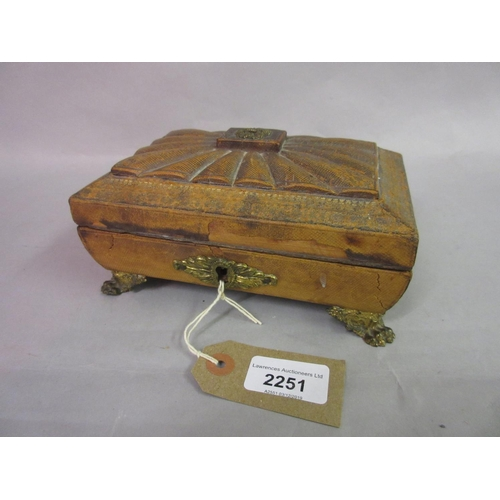 2251 - Regency leather covered jewellery casket, the shaped dome top with gilt tooled leather on low gilt b...