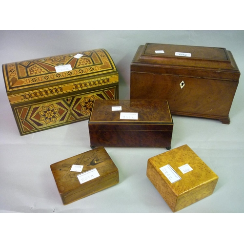 2252 - George III mahogany sarcophagus shaped three division tea caddy with integral secret drawer on ogee ...