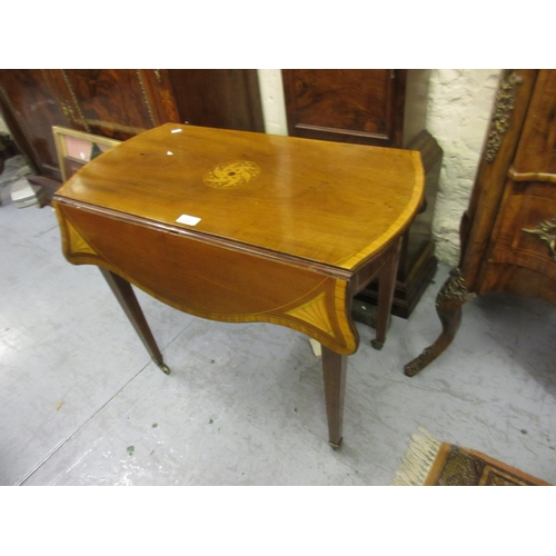 2253 - 19th Century mahogany satinwood boxwood and ebony inlaid drop-leaf Pembroke table with single end dr...