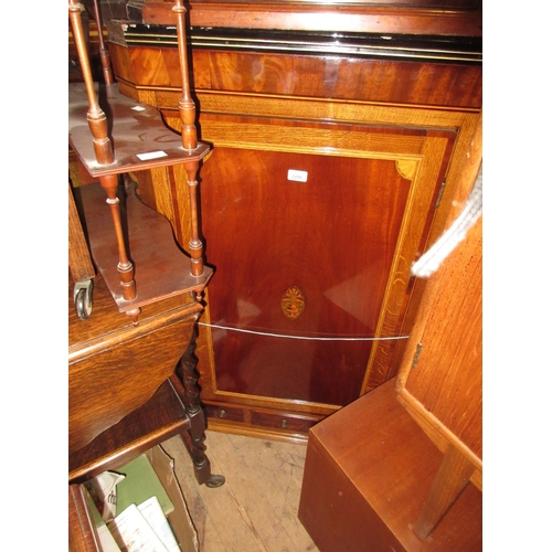 2255 - 19th Century oak and mahogany wall mounting corner cabinet having flush panel door with inlaid decor...