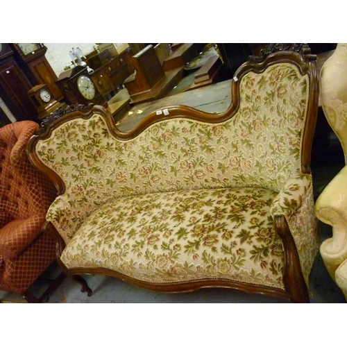 2265 - 19th Century carved mahogany double chair back sofa, the shaped moulded and floral carved back above...