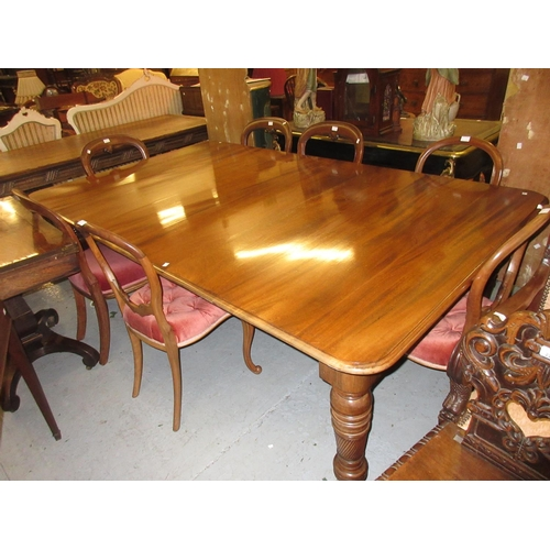 2275 - Reproduction mahogany rectangular wind-out extending dining table in Victorian style, the moulded to...
