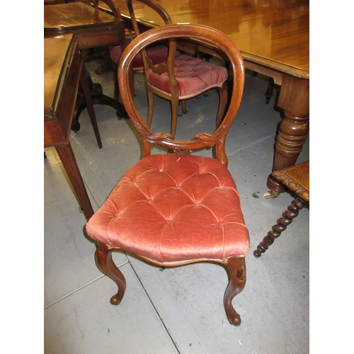 2276 - Set of four Victorian mahogany balloon back dining chairs with overstuffed seats and cabriole front ...