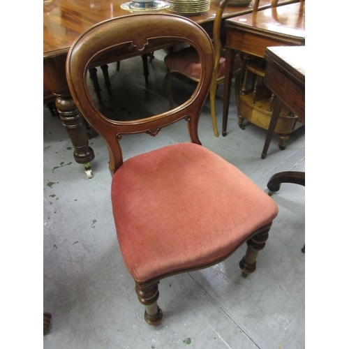2277 - Set of four Victorian mahogany dining chairs with button upholstered seats and turned front supports...