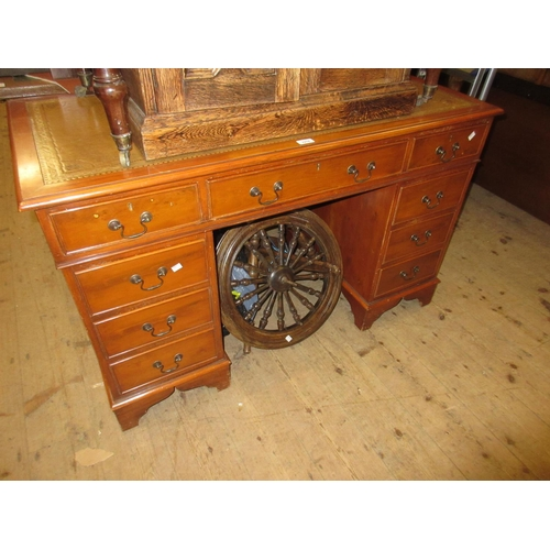 2278 - Reproduction yew wood twin pedestal desk with a leather inset top above nine drawers and bracket fee...