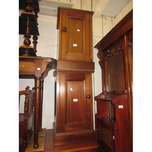 2280 - Pair of mahogany bedside cabinets, each with a rectangular panelled door...