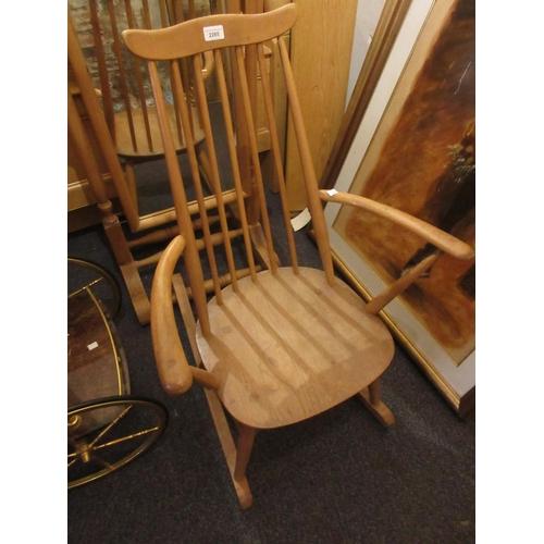 2285 - Ercol beech and elm stickback rocking chair...
