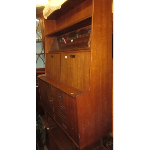 2287 - Mid 20th Century teak bureau bookcase / side cabinet by Turnidge Products...