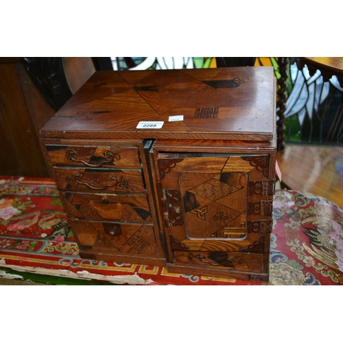 2289 - Late 19th / early 20th Century Japanese parquetry inlaid table cabinet...