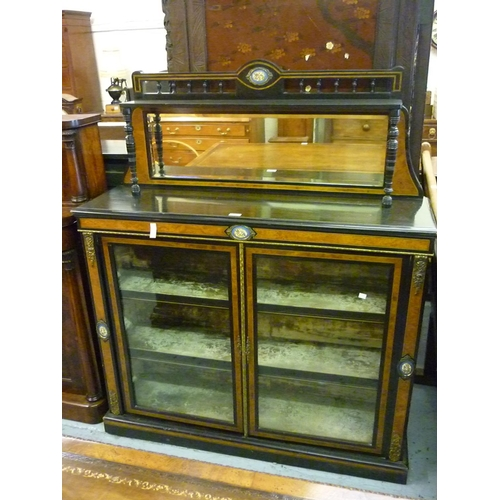2291 - Victorian ebonised amboyna, porcelain and gilt metal mounted chiffonier with a mirrored back above t...