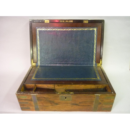 2292 - Victorian rosewood and brass bound rectangular fold-over writing slope...