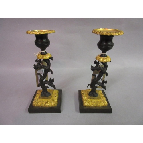 2300 - Pair of early 19th Century gilt and dark patinated bronze candlesticks in the form of trees with squ...