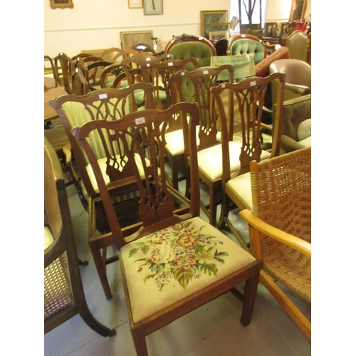 2301 - Set of six 19th Century mahogany dining chairs in Georgian style, the pierced splat backs above drop...