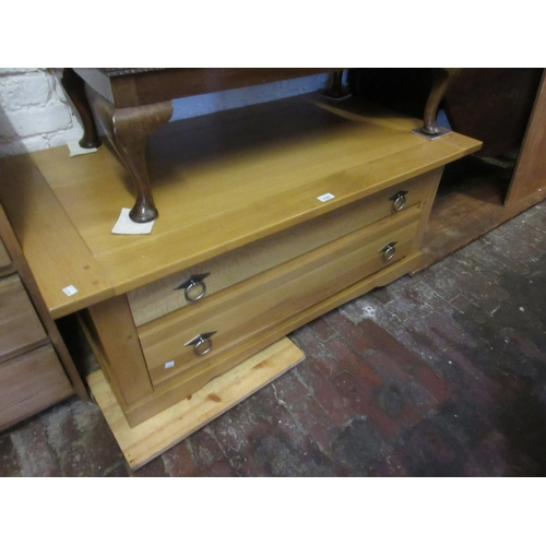 2306 - Modern light oak rectangular coffee table / two drawer chest together with an early 20th Century bee...