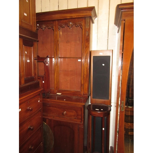 2309 - Victorian mahogany secretaire bookcase, the moulded cornice above two glazed doors, the base with a ...