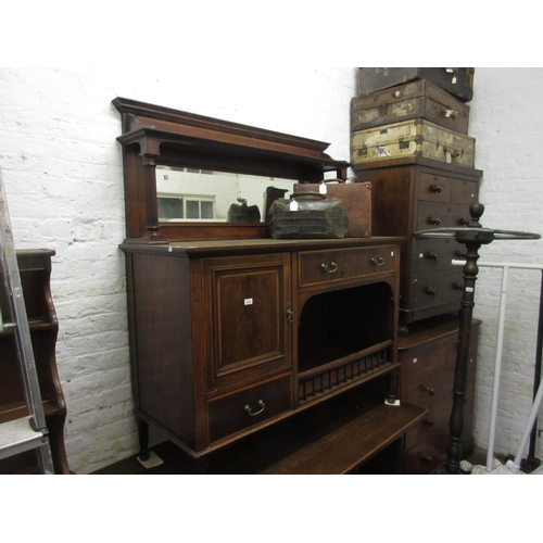 2319 - Edwardian mahogany line inlaid and crossbanded sideboard, having galleried mirrored back with turned...