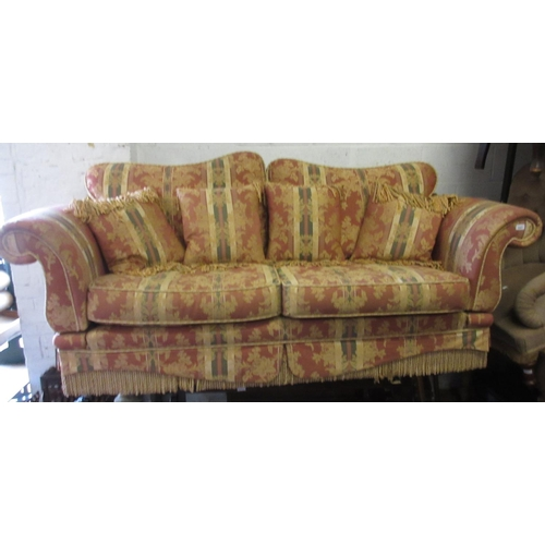 2327 - Modern floral damask upholstered three-seat sofa...