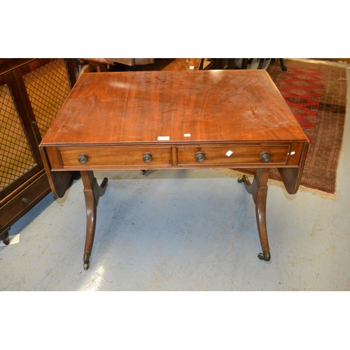 2331 - Early 19th Century mahogany drop leaf sofa table with two frieze drawers raised on rectangular and s...