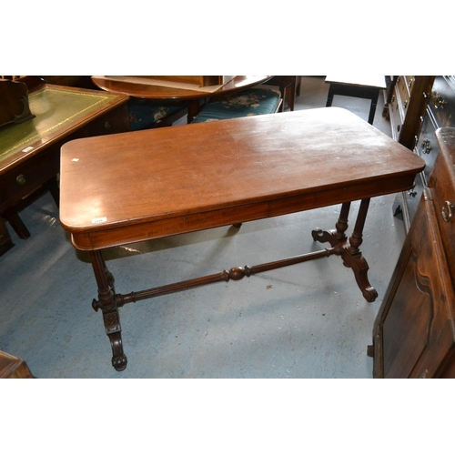 2338 - 19th Century mahogany library table having plain top with moulded frieze, having two drawers bearing...