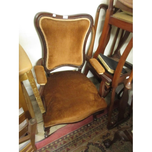 2358 - Edwardian mahogany open arm drawing room chair on cabriole supports (for restoration) together with ...