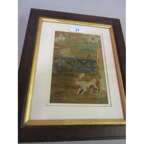 27 - Small late 18th or early 19th Century Berlin silk work picture of a dog and sheep in a landscape, 6....