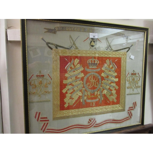 30 - Framed silkwork picture, arms of the Queen's Royal Lancers...