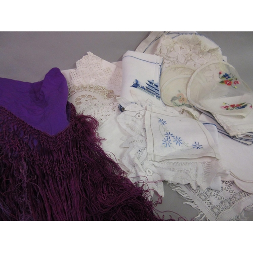 31 - Lace work mantilla and a quantity of various table linen etc