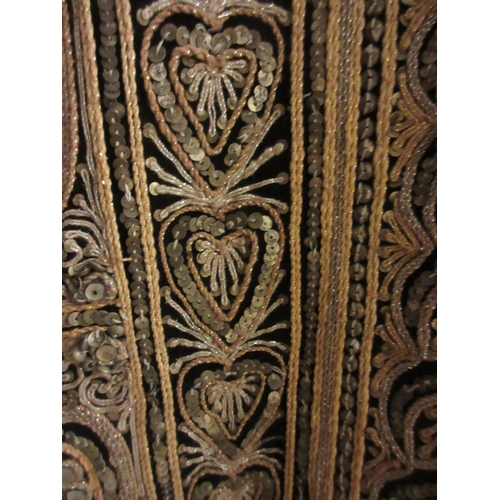 35 - Large Indian gold thread work wall panel having central panel decorated in high relief with figures ...