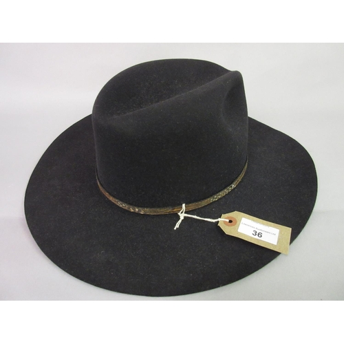 36 - Jolley's Ranch Wear, black felt Stetson hat...