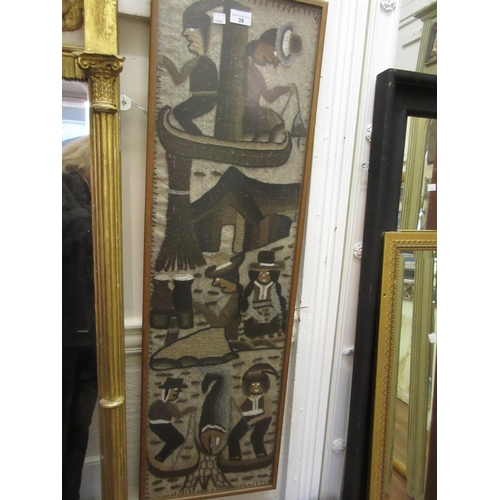 38 - 20th Century framed South American woolwork panel of figures...