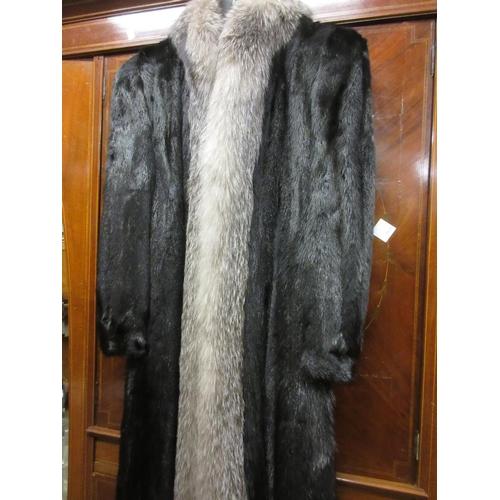 40 - Ladies three quarter length dark brown fur coat with fox fur trim