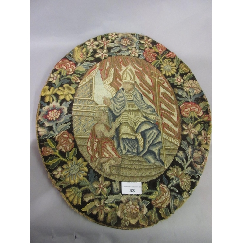 43 - 18th Century French petit point oval panel depicting a Bishop making a blessing within an oval flora...