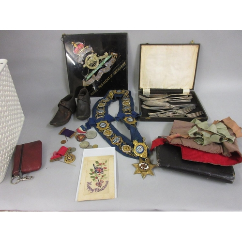 50 - Quantity of Order of the Buffalo medals, sash, bag etc., pair of early 20th Century leather and wood...