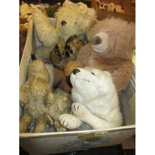 53 - Quantity of various soft toys including: teddy bears, dog and a cat...