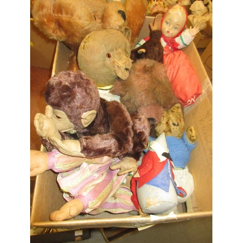 55 - Quantity of various soft toys including a monkey and a teddy bear...