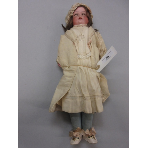 66 - Heubach Koppelsdorf German bisque headed doll with sleeping eyes open mouth and four teeth, 16ins ta...