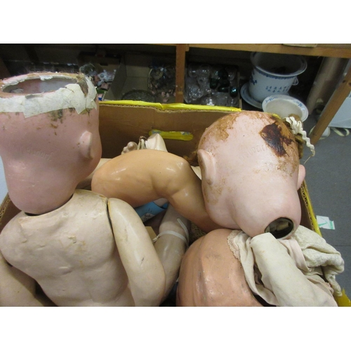 71 - Two Heubach Koppelsdorf bisque headed dolls (for re-construction)...