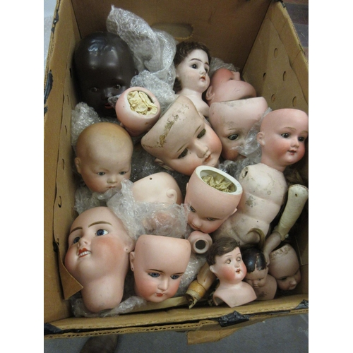 72 - Quantity of German and French bisque dolls heads...