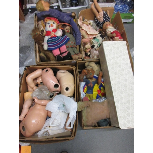 73 - Four boxes containing a large quantity of soft toys, composite dolls etc...