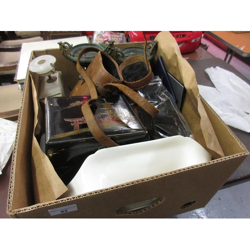 82 - Leather binocular case, oriental lacquer box and sundries...