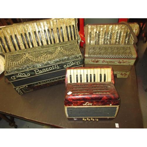 92 - Three various piano accordions (at fault)...