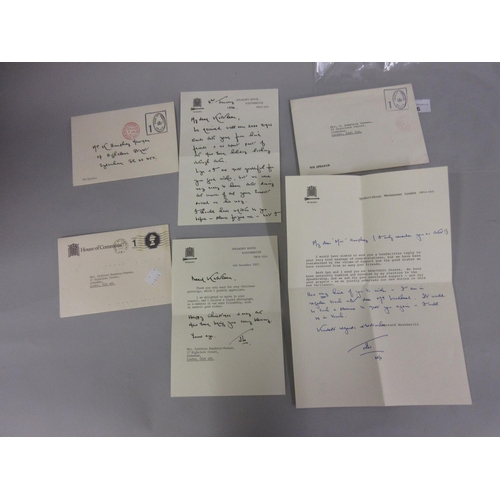 96 - Collection of letters and greetings cards from Speaker Bernard Weatherill to Mrs K. Humphrey Newman,...