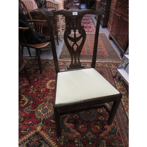 2249 - 18th Century mahogany carved splat back side chair with drop-in seat on square chamfered supports...