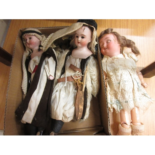 68 - Small Goebel bisque headed doll together with two other small bisque headed shoulder plate dolls...