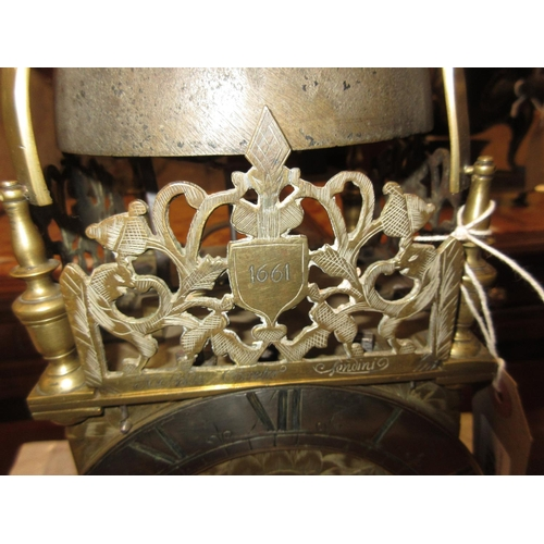 1823 - Hoop and spike lantern clock, the 6.25in silvered chapter ring with Roman numerals enclosing a flora...